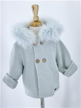 Green Macilusion baby boys knitted jacket with fur hood 8287-121