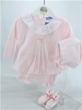 Pink Macilusion baby girls angel top knickers & bonnet 8231-121