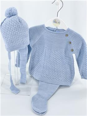 Macilusion baby boys 3 piece footsie & hat 8210-121 blue