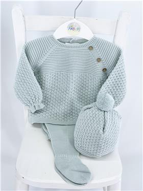 Macilusion baby boys top & footsie & hat 8210-121 green