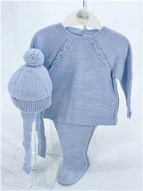 Macilusion baby boys knitted 3 piece footsie with hat 8206-121 blue
