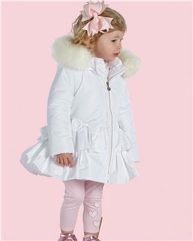 Little A Dee girls frill coat LW21202 Audrey White