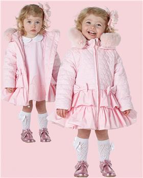Little A Dee heart faux fur trim coat LW21200 Aubrey Pink
