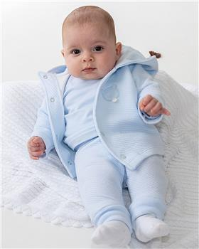 Bluesbaby boys bear applique 3 piece jogsuit BB0158 blue