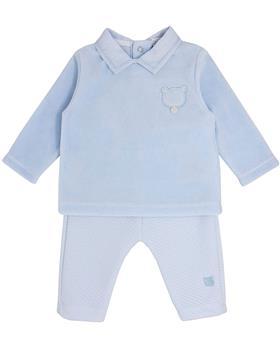Bluesbaby boys bear applique 2 piece jogsuit BB0159 blue