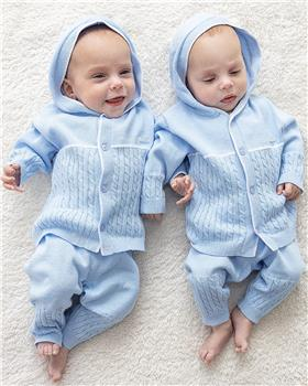 luesbaby boy cable knit hooded jacket & pants BB0066-021 blue