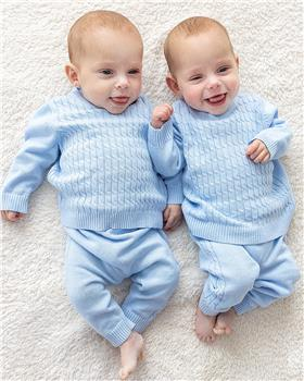 Bluesbaby boys all over cable knit jumper & pant BB0128-021 blue