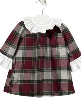 Babidu baby girls tartan dress with frill collar 90511