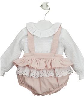Babidu baby girls ruffle neck blouse & frill dungaree 30341