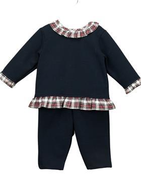Babidu girls tartan frill collar jogsuit 61290 navy
