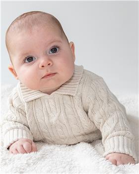 Bluesbaby boys heavy cable knit sweater & pants BB0116-021 beige