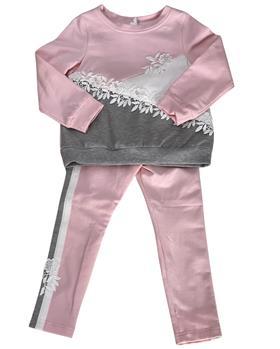 Daga Girls flower applique top & legging M8404-8405 PK-GR