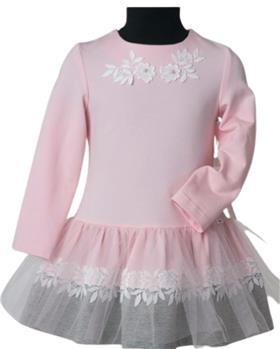 Daga Girls flower applique dress M8403-021 PK-GR