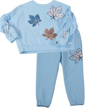 Daga girls blue leaf sweatshirt & pants M8476-8477-021