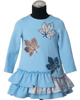 Daga girls blue leaf dress M8470-021 blue