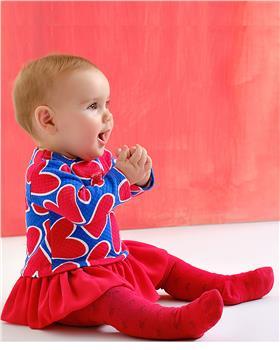 Agatha Ruiz girls royal blue & red heart dress & tights 3390-021