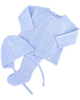 Martin Aranda knitted top pants & hat 004-14072-021 blue