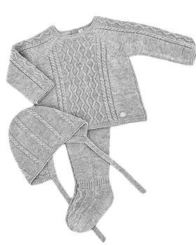 Martin Aranda knitted top pants & hat 004-14072-021 grey