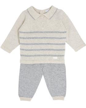 Bluesbaby boy stripe knit jumper & pant BB0123-021 grey-beige
