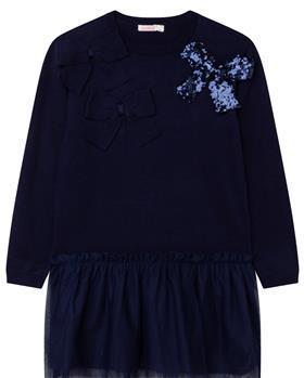 Billieblush girls winter knitted dress U12704 navy