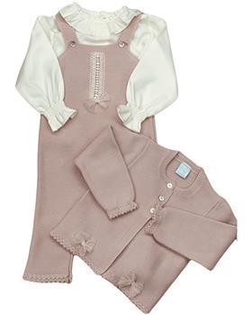 Granlei girls blouse & knitted dungaree 2-586-121 dusky pink