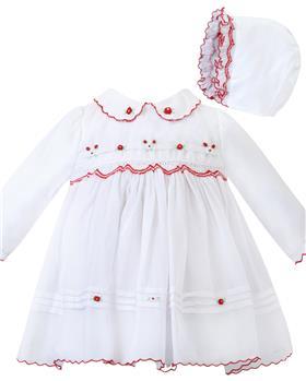Sarah Louise girls dress & bonnet 012445 wh/rd