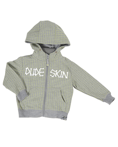 Dudeskin grey and lime green hoody