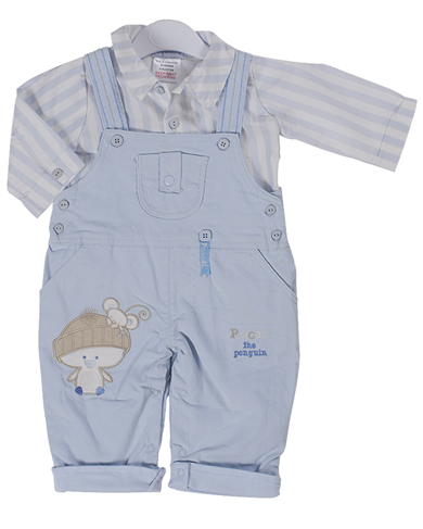 Pequilino baby boys shirt and dungaree set