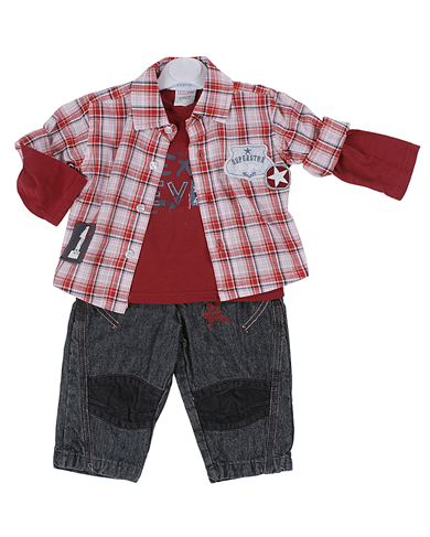 Pequilino baby boys 3 piece set red