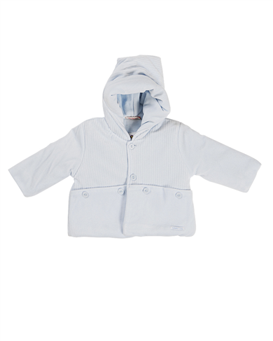 baby boy powder blue padded velour anorak