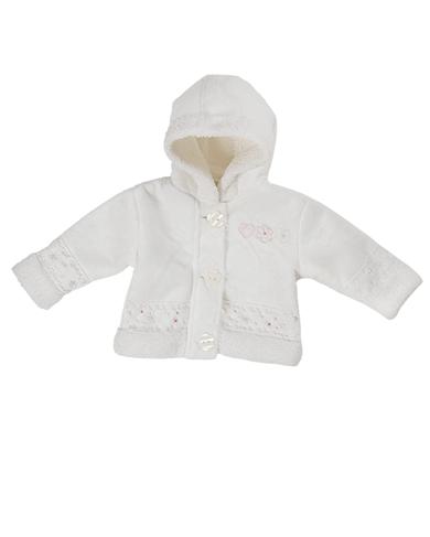 baby girl cream boucle hooded jacket