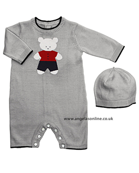 Emile et Rose baby boy knitted grey all in one 1491/1526gm.