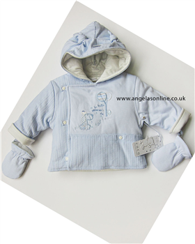 Co Co Baby Boys Little Puppies Blue Jacket | Mittens 4457