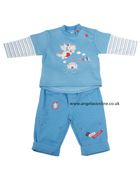 Everyday Kids Baby Boy Castle & Dragon Blue Top   Trousers 7024