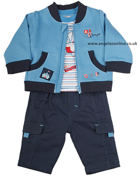 Everyday Kids Baby Boy 3 pc Outfit Top | Trousers | Jacket 7022