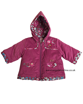 Everyday Kids Girls Purple Floral Jacket with Hood 7059