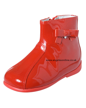 Andanines Girls Red Patent Leather Boot T92512