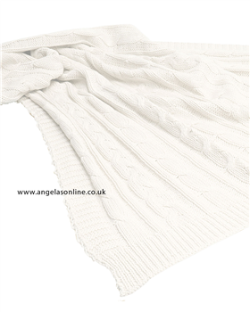 Emile et Rose White Knitted Baby Blanket Arden - 8155wh