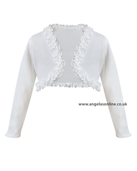 Sarah Louise Girls White Knit Bolero 675