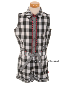 Deux par Deux Girls Black & White Check Jumpsuit E43-2