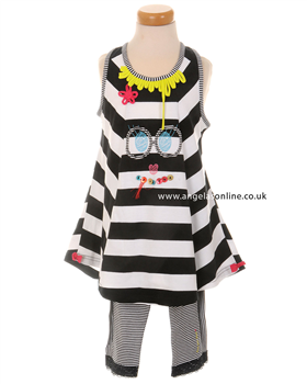 Deux par Deux Girls Black & White Striped Tunic with Leggings I76