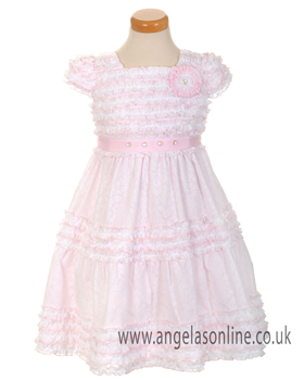 Kate Mack Girls Pink Ruffle Dress 196
