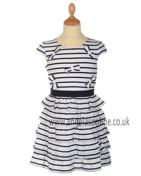 Kate Mack Girls White & Navy Stripy Tiered Dress 537