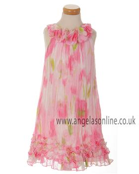 Kate Mack Girls Pink/Green Sleeveless Floral Dress 162
