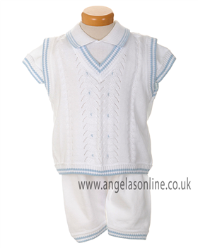 Pretty Originals Boys White & Blue 3Pc Knit Outfit JP53185