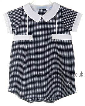 Laranjinha navy & white checked romper V3020 NV