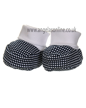 Laranjinha Navy & White Checked Baby Booties V3008 NV