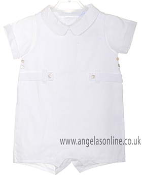 Laranjinha Baby Boy 2 pc - White Dungaree & White Shirt V3276