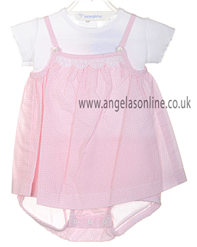 Laranjinha Baby Girl Pink & White Romper | Dress V3217