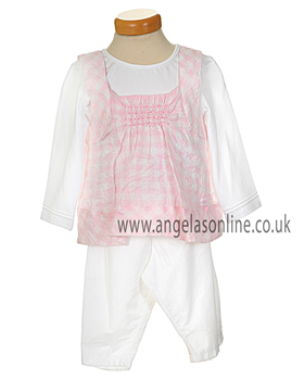 Absorba Girls 2 Pce White & Pink Outfit 6022